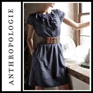 Anthropologie Maeve Denim Ruffles Dress